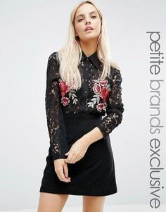 Кружевная блузка с цветочной аппликацией Fashion Union Petite - Черный
