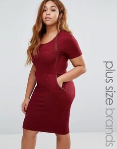 Платье-футляр с молниями Goddiva Plus - Красный