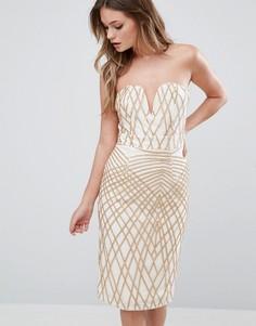 Платье-футляр с вырезом сердечком и пайетками TFNC - Кремовый