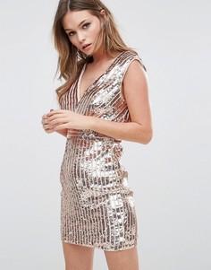 Платье мини с глубоким вырезом и полосками из пайеток TFNC - Черный
