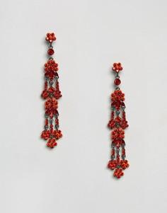 Серьги-подвески с красными камнями Love Rocks - Красный
