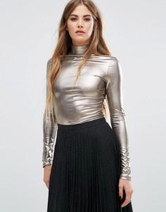 Топ с эффектом металлик и высокой горловиной Fashion Union - Золотой