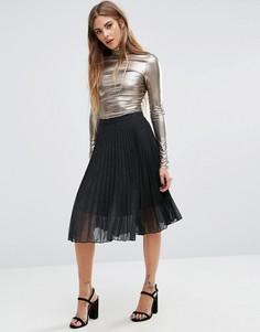 Юбка с высокой талией и эффектом металлик Fashion Unon - Серый