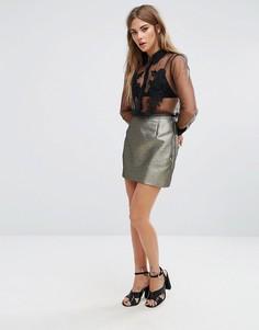 Мини-юбка металлик Fashion Union - Черный