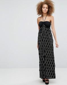 Платье макси с завязкой на шее Pussycat London - Черный