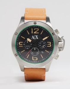 Часы с хронографом и светло-коричневым кожаным ремешком Armani Exchange AX1516 - Рыжий