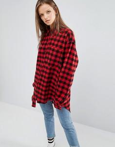 Oversize-рубашка в клетку STYLENANDA - Красный