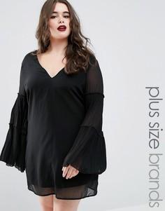 Плиссированное цельнокройное платье Boohoo Plus - Черный