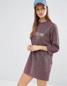 Блестящее платье-футболка с надписью спереди STYLENANDA - Розовый