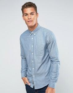 Синяя рубашка в полоску с 2 карманом Abercrombie & Fitch - Синий