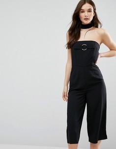 Комбинезон с юбкой-шортами и лентой на шее Influence - Черный