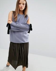Oversize-свитшот с вырезами на плечах STYLENANDA - Фиолетовый