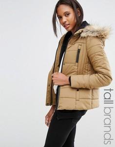 Дутая куртка с отделкой искусственным мехом Vero Moda Tall - Коричневый
