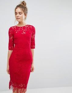 Кружевное платье с рукавами 3/4 Paper Dolls - Красный