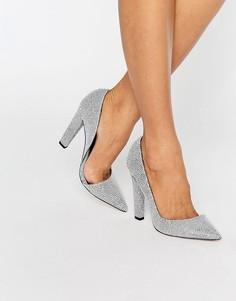 Монохромные туфли-лодочки с эффектом кожи ската Paper Dolls Nissa DOrsay - Серебряный