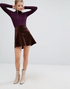 Короткая расклешенная юбка из бархата First & I - Черный