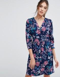 Синее платье с длинными рукавами и цветочным принтом Closet - Мульти