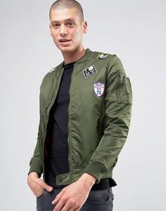 Куртка-пилот из саржевого нейлона Brave Soul - Зеленый