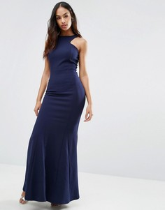 Платье макси из крепа с вырезом в стиле борцовки спереди Club L - Темно-синий
