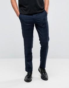 Клетчатые брюки слим в строгом стиле Burton Menswear - Темно-синий