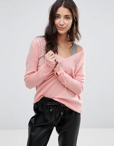 Джемпер с v-образным вырезом и спущенными петлями Pam & Gela - Розовый
