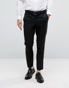 Фактурные брюки слим в строгом стиле Burton Menswear - Черный