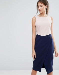 Платье с контрастной юбкой с запахом на пуговице Closet - Мульти