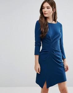 Платье со сборками и V-образным вырезом сзади Closet - Синий