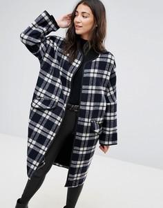 Длинное шерстяное пальто в клетку Parka London Selby - Черный
