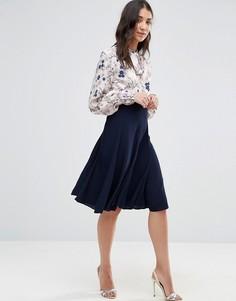 Контрастное платье с завязкой на шее и цветочным принтом на топе Closet - Мульти