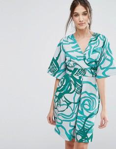 Платье с рукавами-кимоно и завязкой сзади Closet - Зеленый