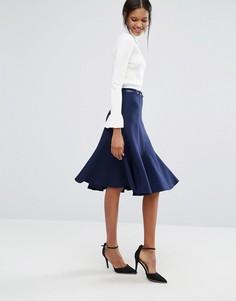 Расклешенная юбка миди Closet - Синий