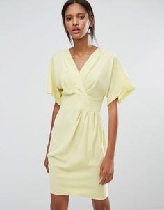 Платье-кимоно с запахом Closet - Желтый
