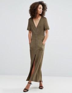 Платье макси из искусственной замши цвета хаки на молнии Liquorish - Зеленый