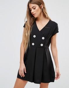 Короткое приталенное платье с пуговицами Wal G - Черный
