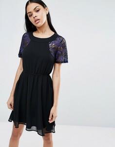 Короткое приталенное платье Pussycat London - Темно-синий