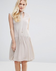 Платье с пуговицами и горловиной на завязке Closet - Кремовый