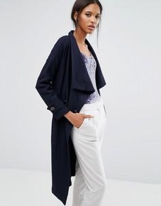 Двубортное пальто с поясом Closet - Синий