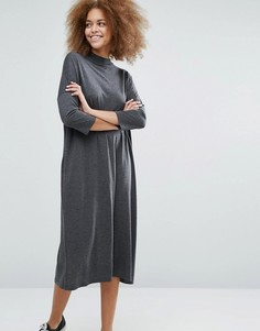 Платье с высоким воротом Monki - Серый