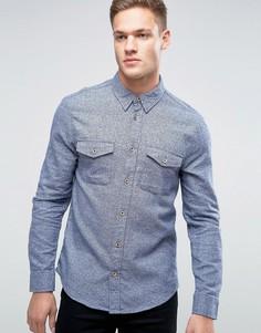 Рубашка слим из фактурной ткани Burton Menswear - Синий