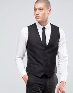 Облегающий меланжевый жилет Burton Menswear - Черный