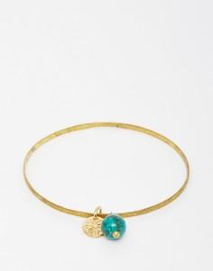 Фактурный браслет из латуни с бирюзой Mirabelle - Золотой
