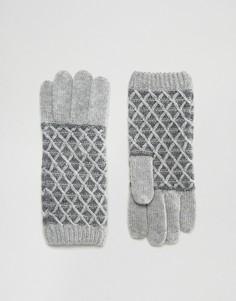 Перчатки с узором ромбы Alice Hannah Vintage - Белый