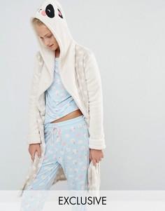 Флисовый халат с дизайном панды Chelsea Peers - Кремовый