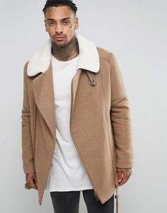 Удлиненная шерстяная байкерская куртка с воротником борг Black Kaviar - Бежевый