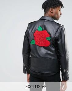 Кожаная байкерская куртка с нашивкой в виде розы на спине Reclaimed Vintage - Черный