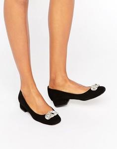 Замшевые туфли на низком каблуке с отделкой Dune Beebie - Черный