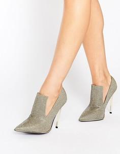 Сандалии на каблуке с высоким передом и отделкой блестками Office Splash - Серебряный