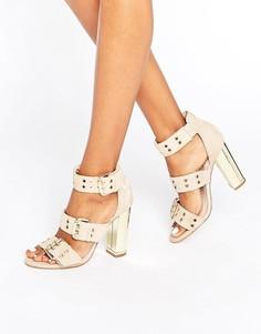 Замшевые сандалии на каблуке с ремешками и люверсами Office Shots - Бежевый
