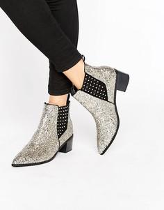 Серебристые блестящие ботинки челси Office Amber - Серебряный